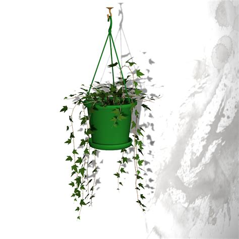 hanging ivy with planter free 3d model rigged obj pz3 pp2