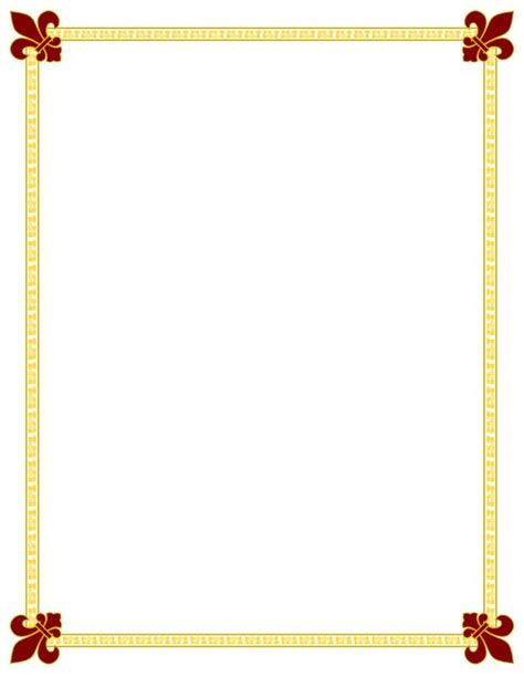 Free Printable Clip Art Borders   Maroon Gold Fleur De Lis