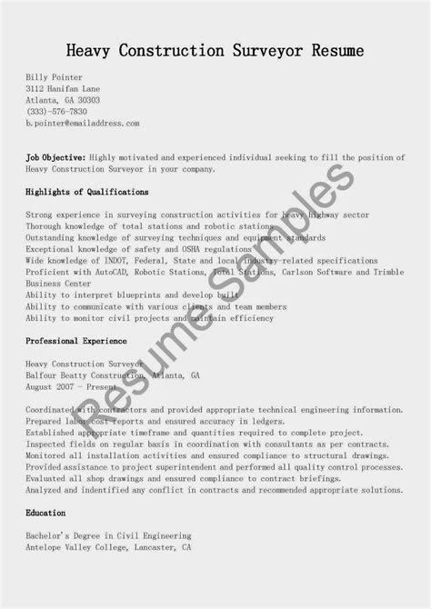 Heavy Construction Surveyor Sle Resume resume sles heavy construction surveyor resume sle