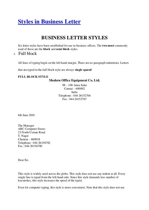 business letter sle styles in business letter