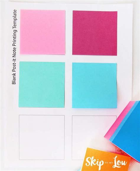 Printable Custom Post It 174 Notes Reminders Skip To My Lou Post It Printing Template