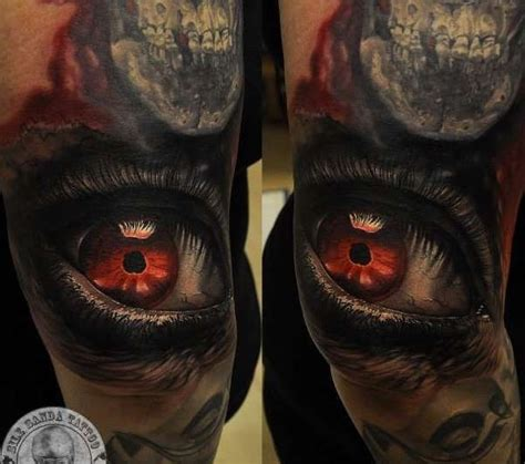 tattoo eyes red 3d dark eye with red pupil tattoo by sile sanda