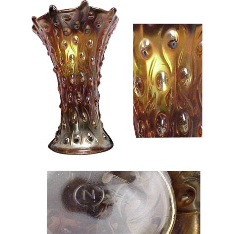 Northwood Carnival Glass Vase by Signed Northwood Marigold Carnival Glass Vase From