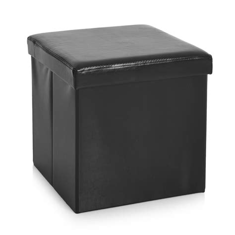 black leather storage cube wilko faux leather storage cube black at wilko com