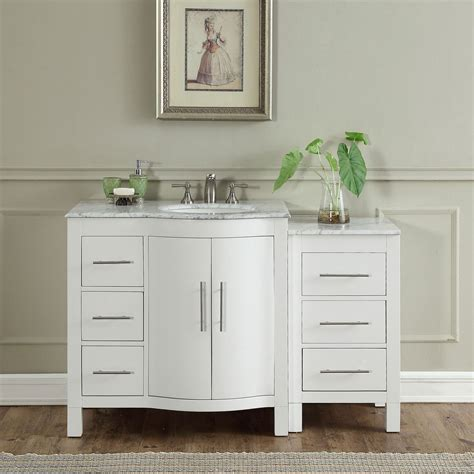 White Bathroom Vanity With Marble Top by 54 Inch Single Sink Contemporary Bathroom Vanity White