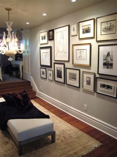 gallery wall design photo wall ideas transitional entrance foyer