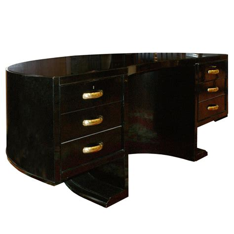 1940s half moon black desk by jacques adnet for sale at