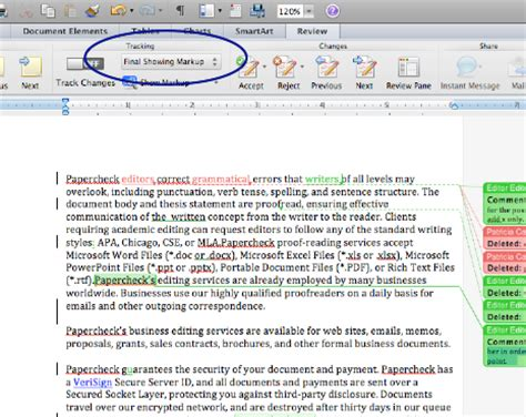 microsoft track changes — word 2011 (mac)