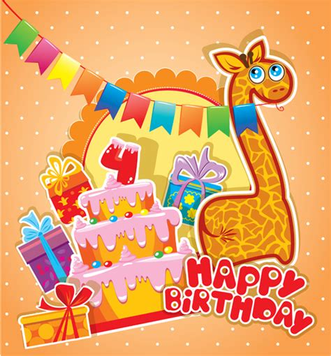 Baby Birthday Card Design Baby Birthday Card With Cake Vector Material 04 Vector