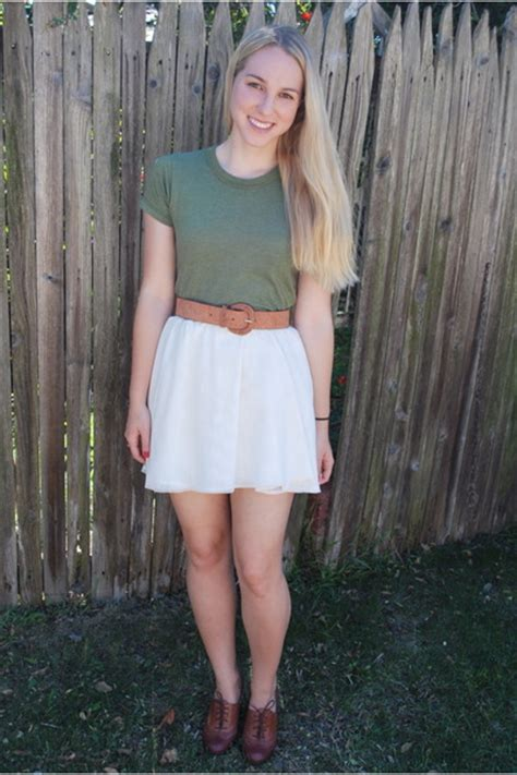 green shirts white skirts brown belts brown shoes