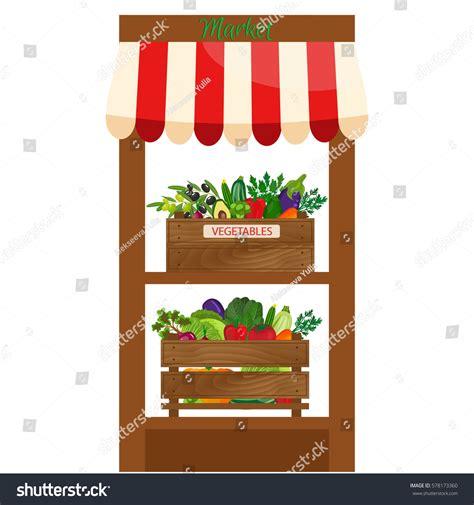 Organic Food Shelf by Local Vegetable Stall Fresh Organic Food Stock Vector