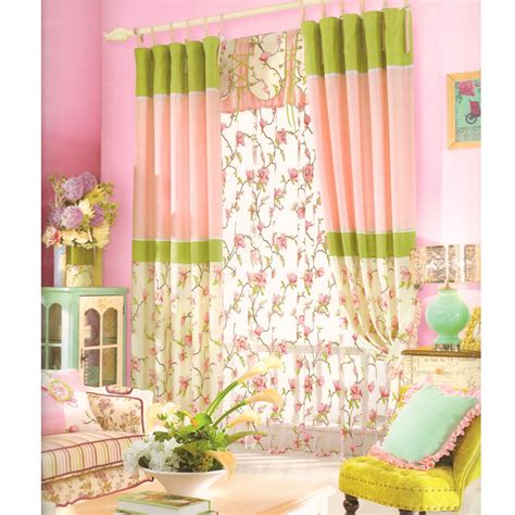 pink and green floral curtains pink and green cotton beautiful floral curtain 2016 new