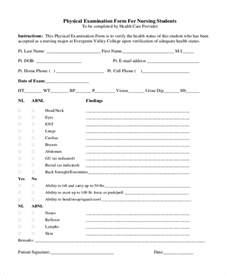 Physical Template For Students by Sle Physical Assessment Forms 8 Free Documents In