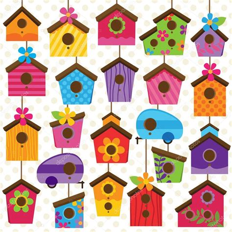 colorful bird houses vector set of and colorful bird houses stock vector