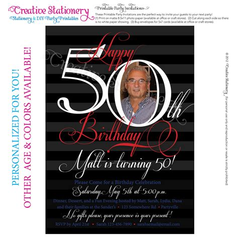 50th birthday invitation template free mens 50th birthday printable milestone by creativestationery