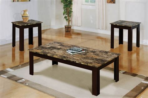faux marble top modern 3pc coffee table set w brown wood base