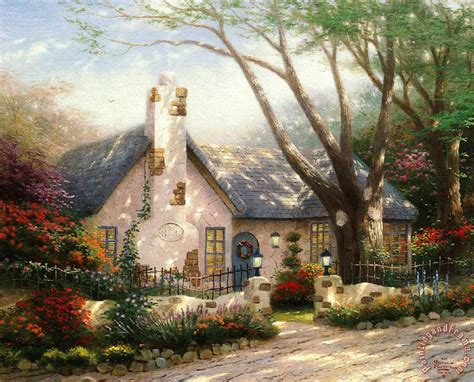 kinkade morning cottage painting morning