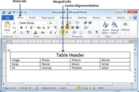 Table Align Center by Word 2010 Merging Cells