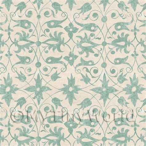 Dolls House Miniature Wallpaper Dolls House Miniature Green Wood Cut Print Style