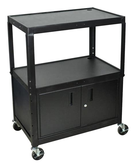 cart with locking cabinet this multi media cart is easy to manuever the rolling