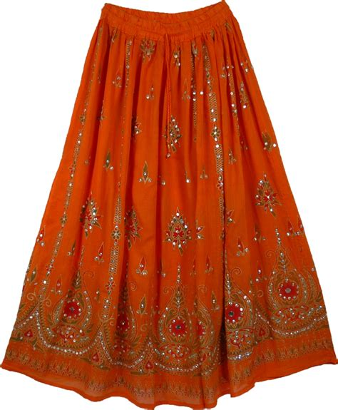 ethnic orange sequined indian skirt sequin skirts sale on bags skirts jewelry at