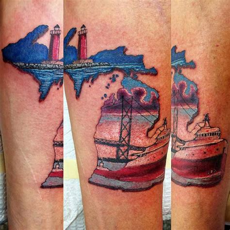 state of michigan tattoo designs 43 spectacular state of michigan tattoos mackinac bridge