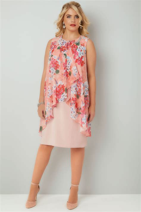 Metaphor Coral Layer Dress pink coral floral printed dress with layered front diamante detail neckline plus size 16 to 36