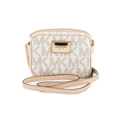 michael kors beige mk logo jet set crossbody small new with tags 2364001 luxedh