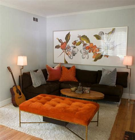 orange and brown living room armless sectional sofa transitional living room