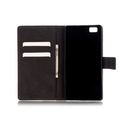 4 Fold Color Leather With Back colored drawing pattern pu leather flip folding back