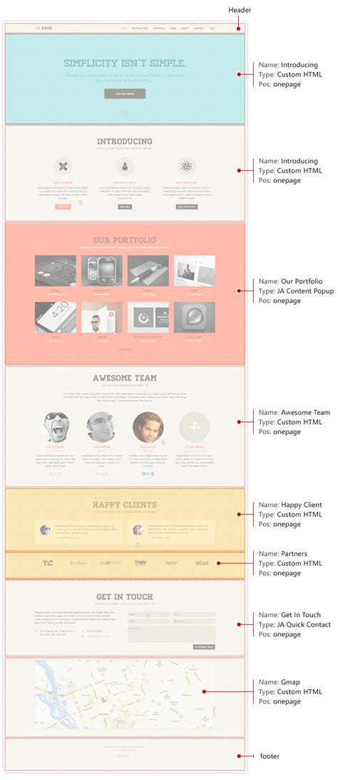 template layout module ja onepage joomla template documentation joomla