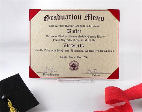 Come With Me Graduation Menu Dessert by Create A Diploma Graduation Menu Free