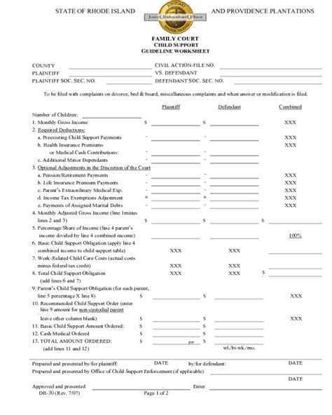 Child Support Guidelines Worksheet 2017