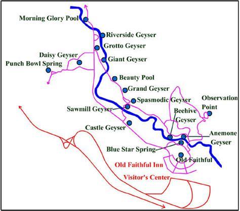 yellowstone geysers map yellowstone geyser basin travelgumbo