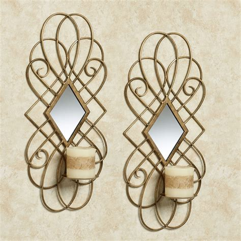 Mirrored Wall Sconce Avalaine Gold Mirrored Wall Sconce Pair