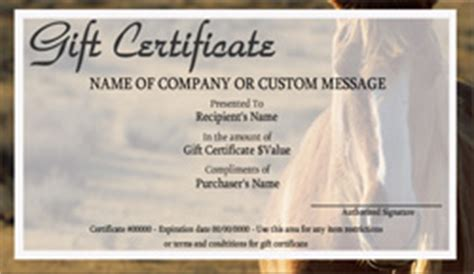 printable gift certificates with horses horseback riding gift certificate templates easy to use