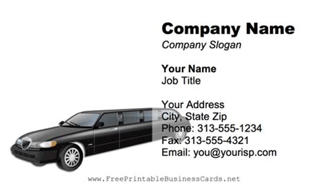 Limo Business Card Template by Limousine Business Card