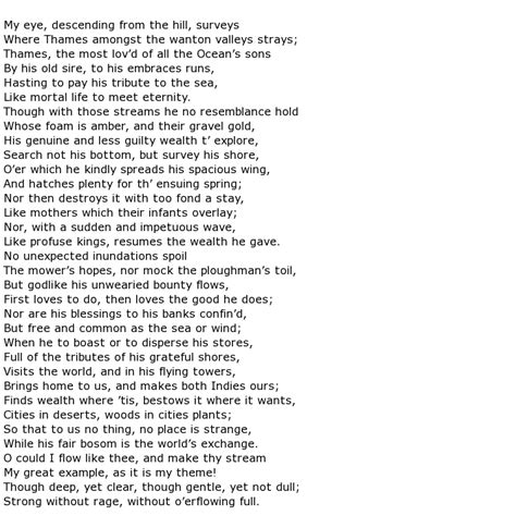 thames river poem sir john denham poems gt my poetic side