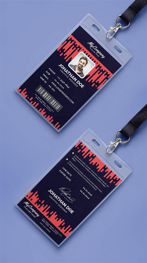 attractive id card design 30 best id card and lanyard templates psd vector