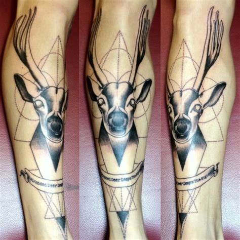 my first tattoo tattoo geometric dotwork deer