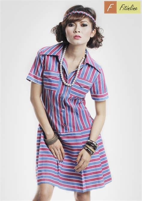 Basic Stripe Dress Abu Tua Putih Striped Dress Gr Murah produk low waist line dress with cross line stripe