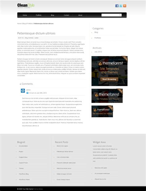 cleanstyle wordpress template by adrianbotea themeforest