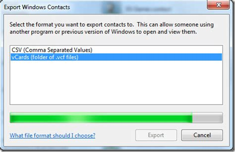 windows 7: convert/export windows contacts to vcf & csv