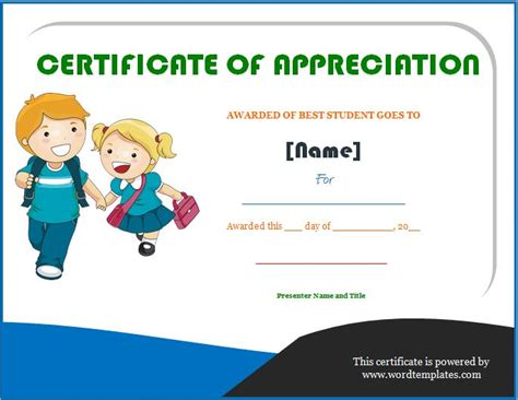 best students award certificate of appreciation