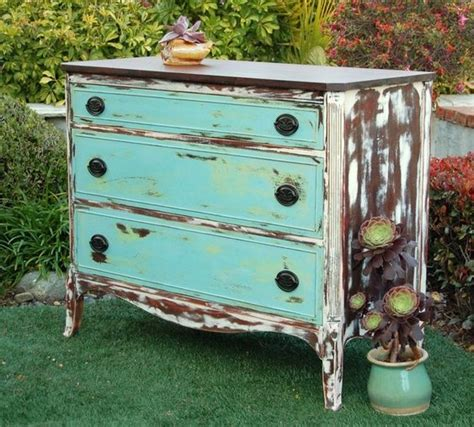 Shabby Chic Turquoise Dresser by Turquoise Distressed Dresser And Furniture On