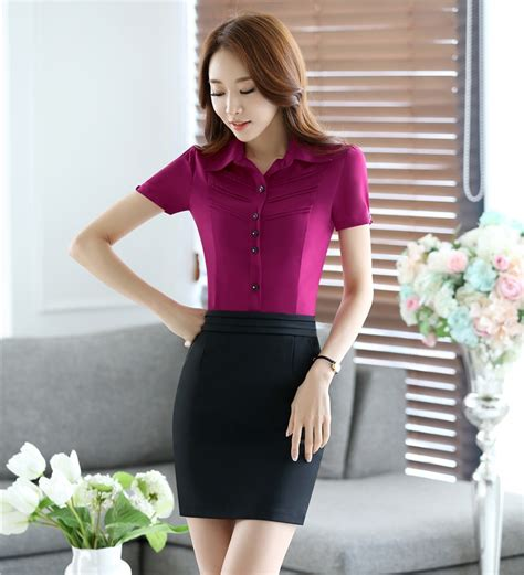two sets business suits with skirt and top sets summer blouse shirts office