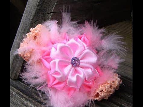 tutorial bunga ros organza novo modelo de flor em fitas de cetim com plumas passo a
