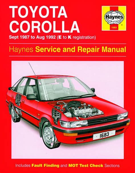 1984 1992 toyota corolla fwd models haynes auto repair manual 92035 for sale carmanuals com toyota corolla sept 1987 aug 1992 e to k reg