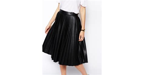 asos pleated midi skirt in leather look in black lyst