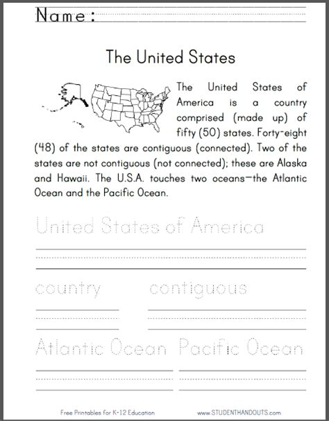 united states worksheet for primary grades kids read an